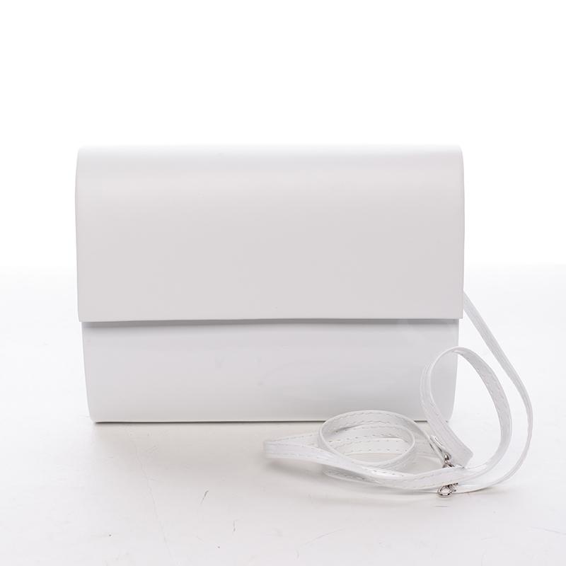 Stredná dámska elegantná listová kabelka biela lesklá - Delami Sandiego