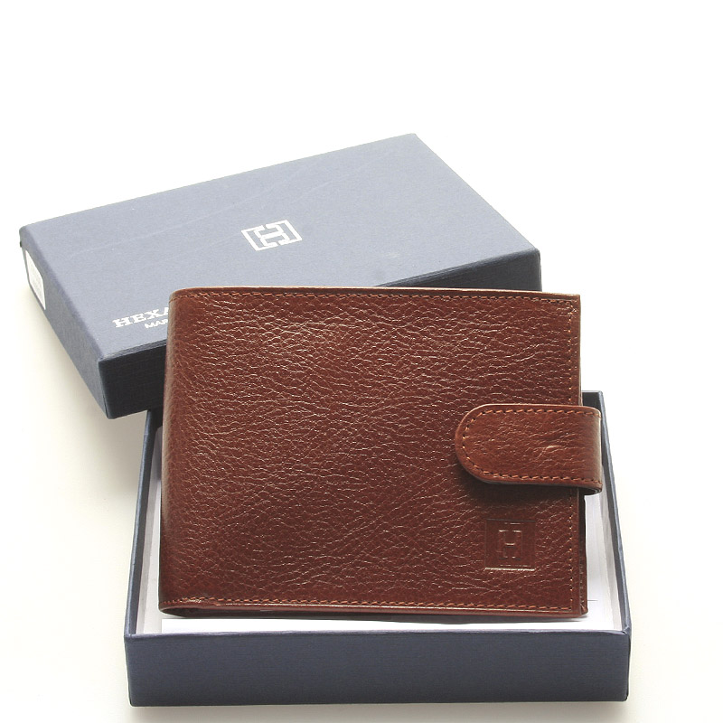 Luxusná pánska hnedá kožená peňaženka - Hexagona Hestia