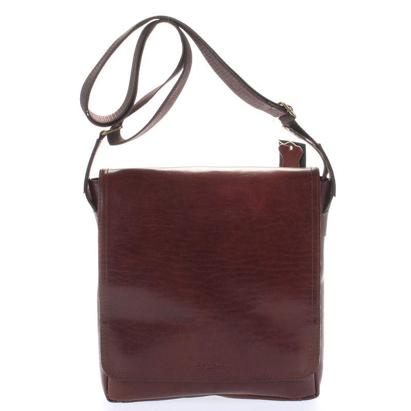 Hnedá elegantná crossbody kožená taška - Delami 1172