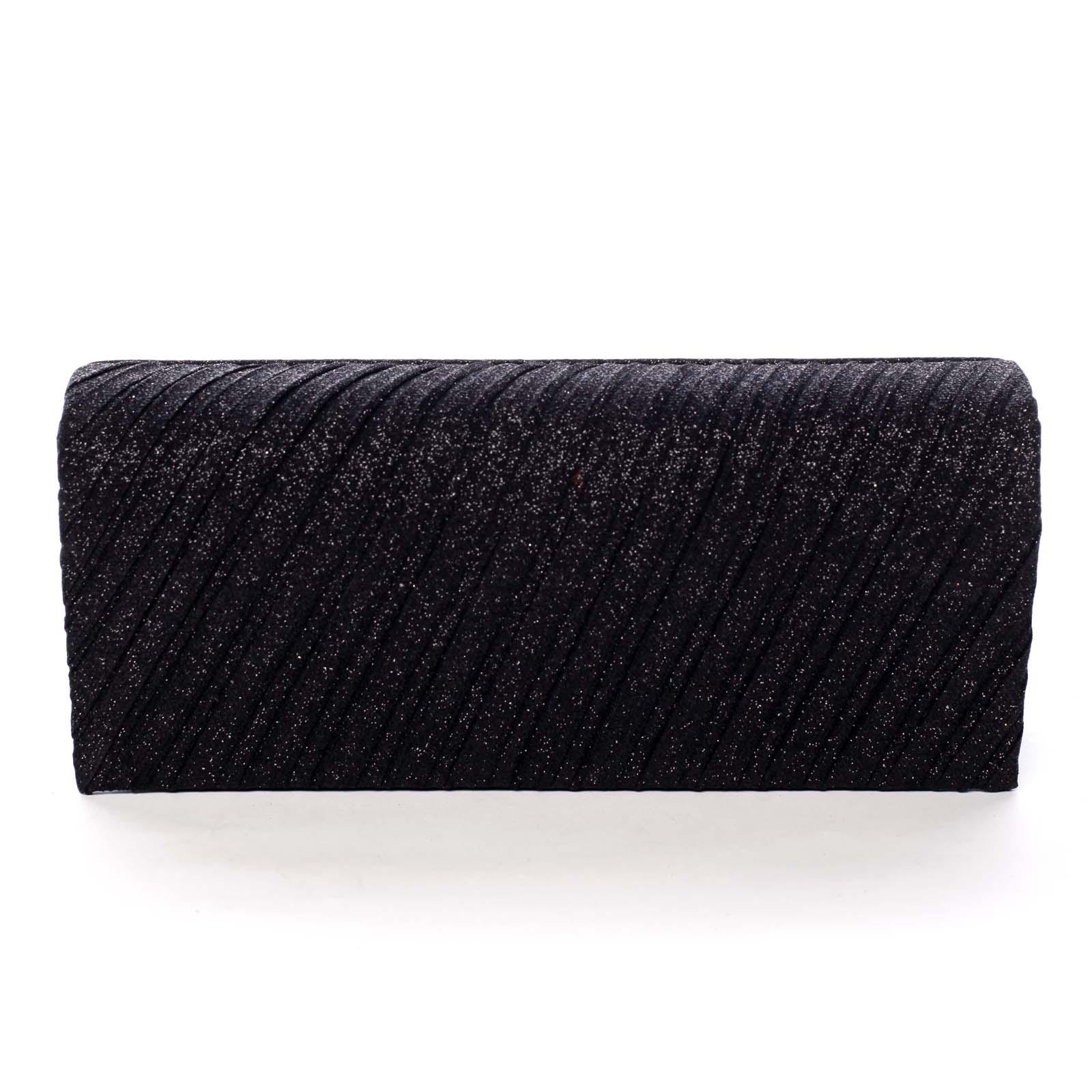 Dámská trblietavá listová kabelka čierna - Michelle Moon Derecho