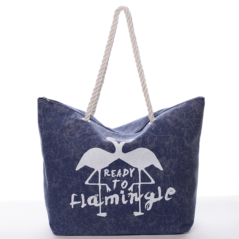 Originálna plážová modrá taška - Delami Flamingo