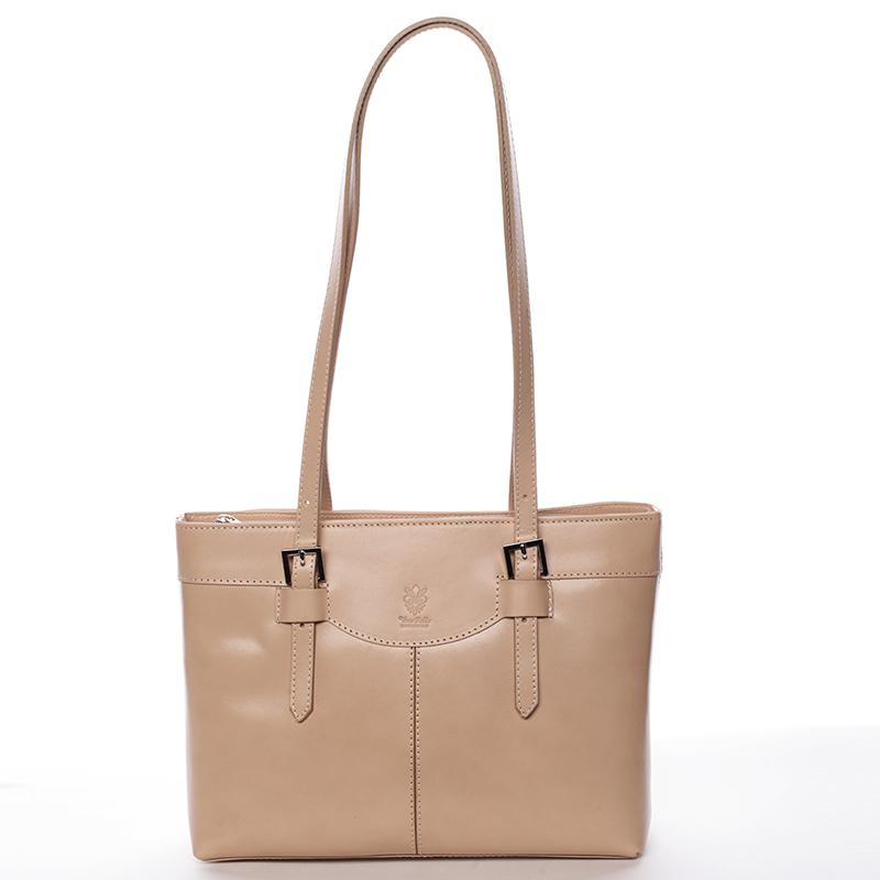 Módna dámska kožená kabelka taupe - ItalY Zoello