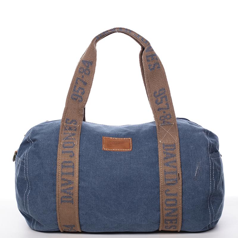 Dámska látková modrá kabelka cez plece - David Jones Molly