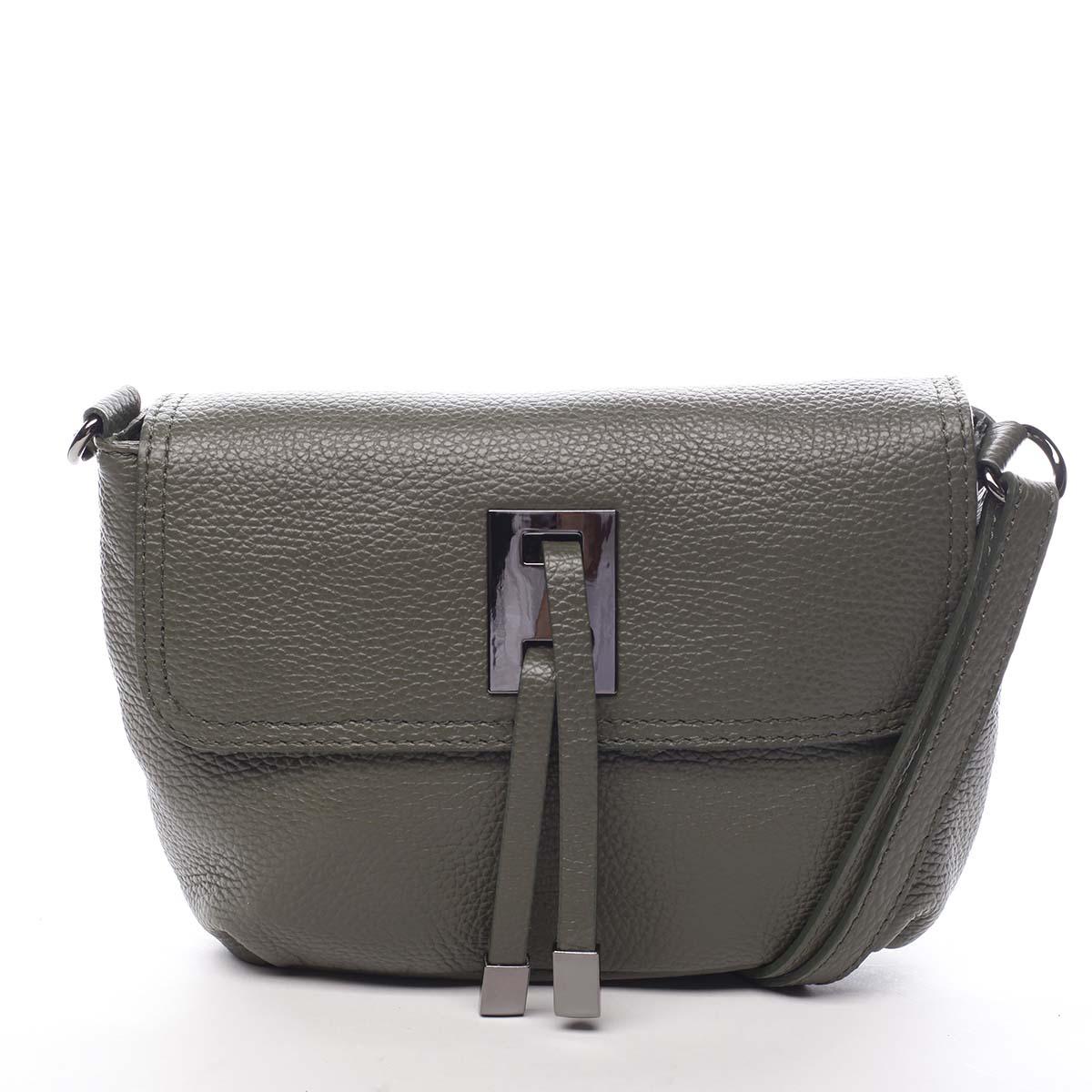 Dámska kožená crossbody kabelka olivová - ItalY Porta