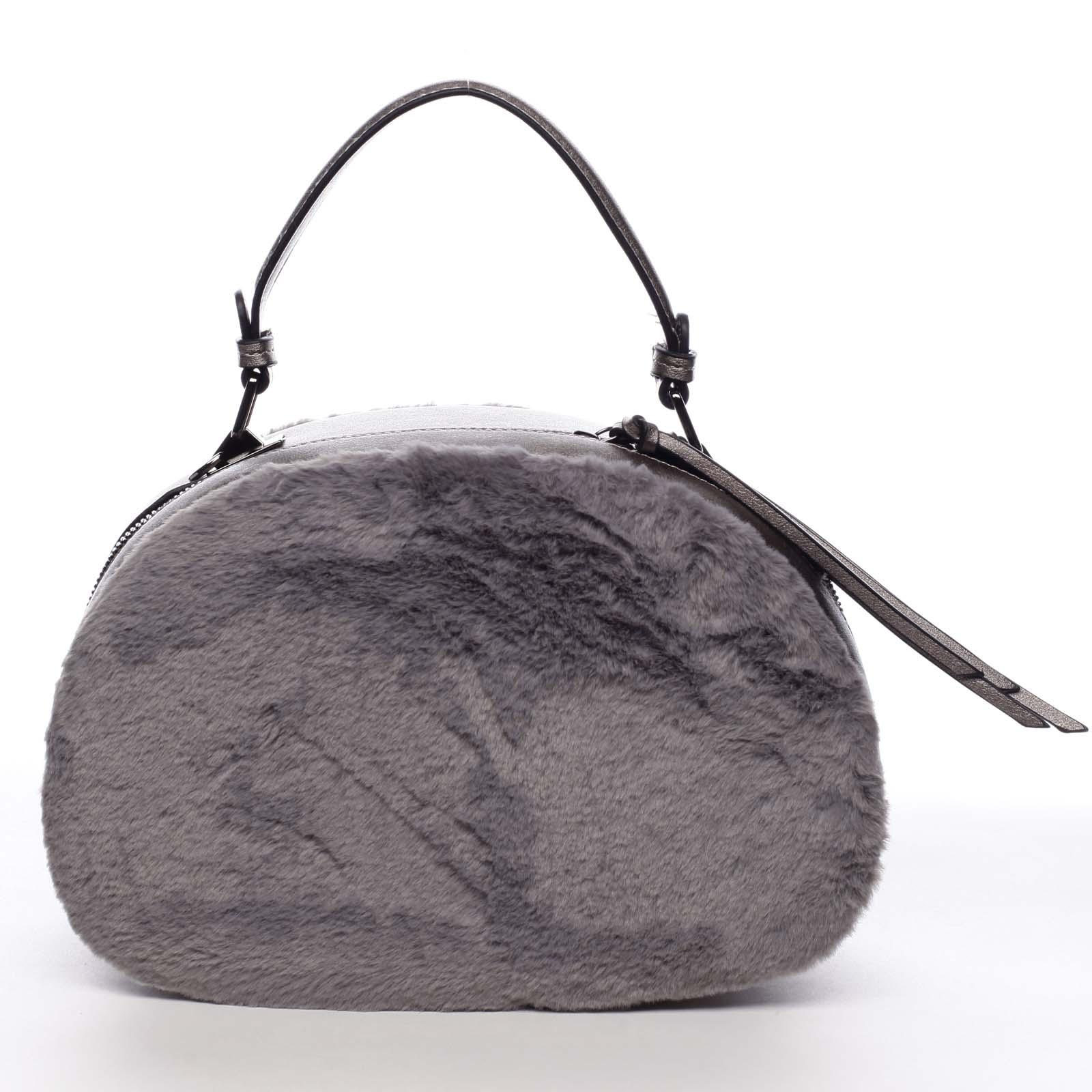 Dámska kožušinová kabelka sivá - MARIA C Hasiel