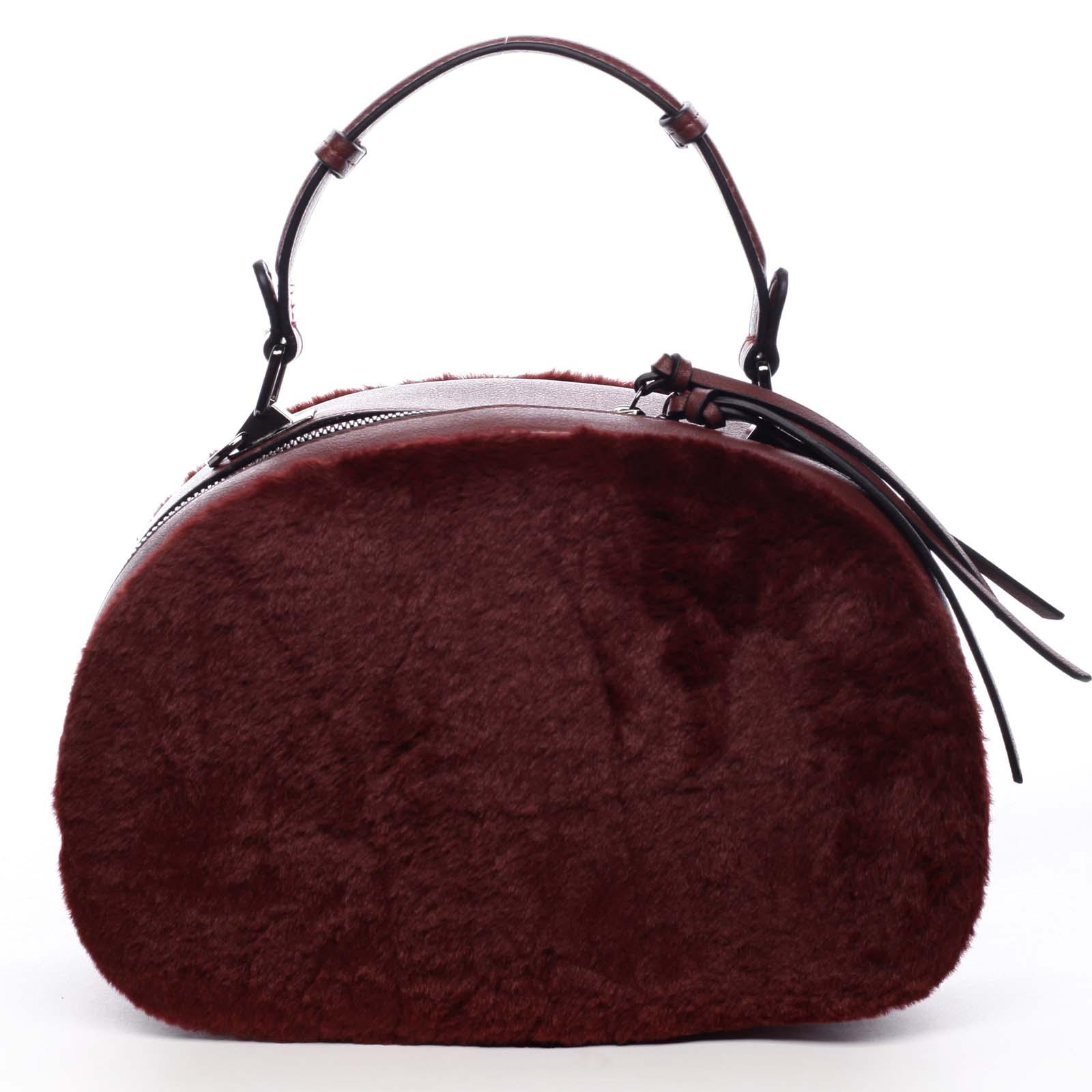 Dámska kožušinová kabelka vínová - MARIA C Hasiel