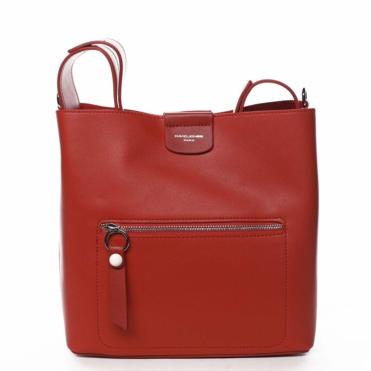 Dámska kabelka cez plece červená - David Jones Salma