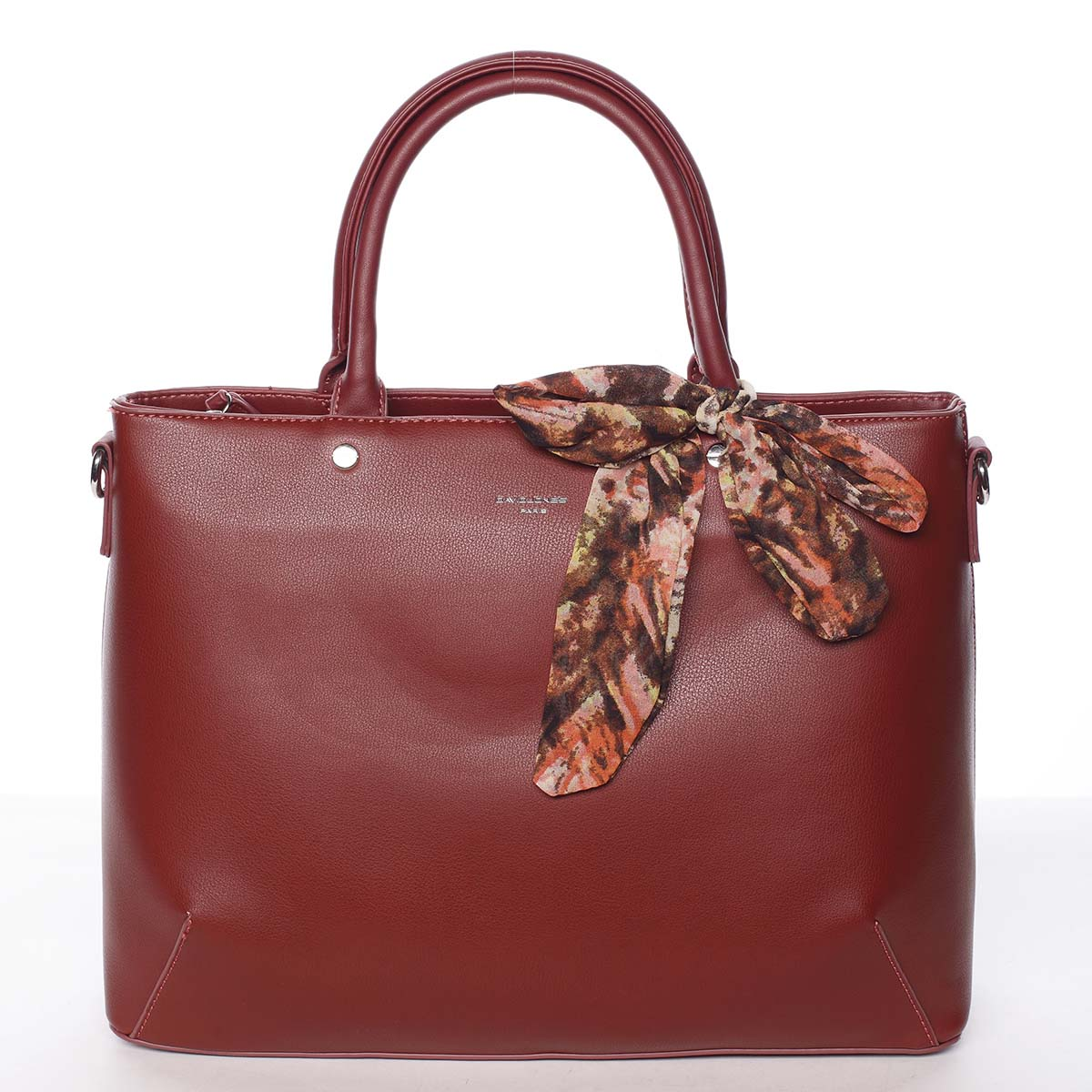 Módna dámska tmavočervená kabelka s mašľou - David Jones Harriet