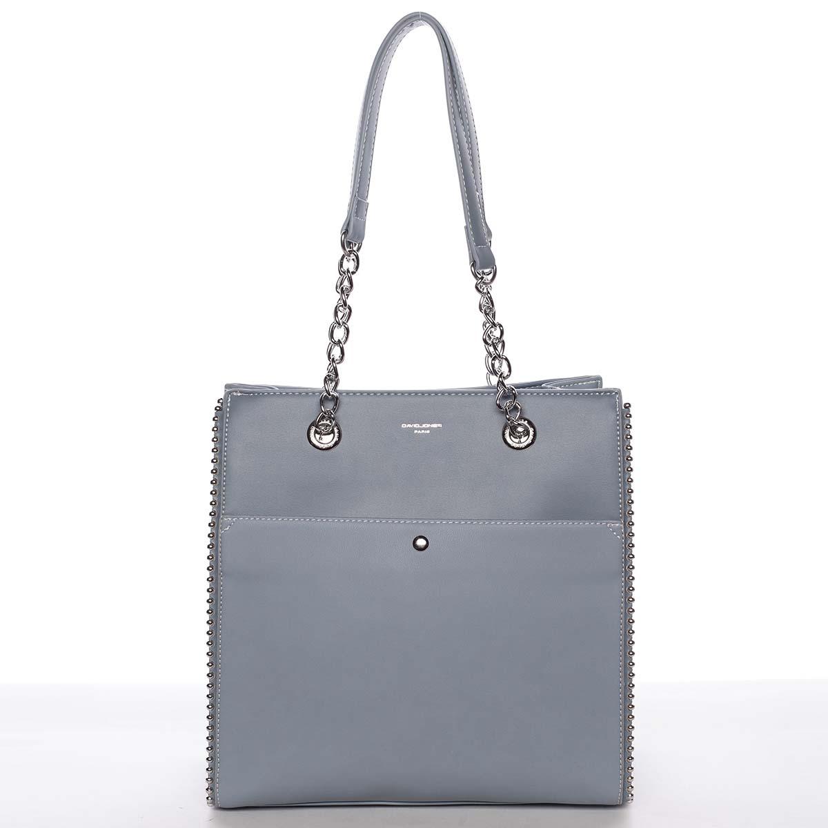Luxusná a originálna dámska pastelovo modrá kabelka cez plece - David Jones Mishel