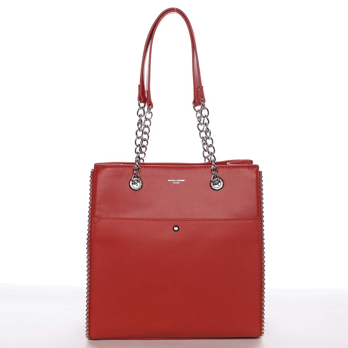 Luxusná a originálna dámska červená kabelka cez plece - David Jones Mishel