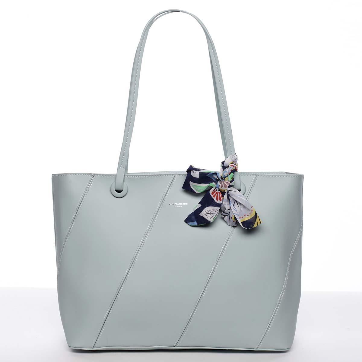 Veľká elegantná a originálna dámska mentolová kabelka cez rameno - David Jones Keiko