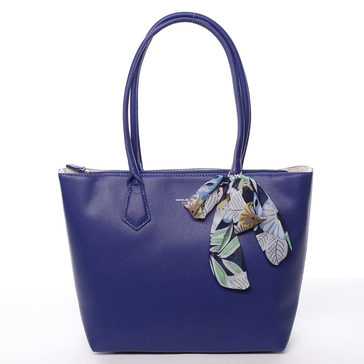 Veľká dámska kabelka cez plece modrá - David Jones Lowe