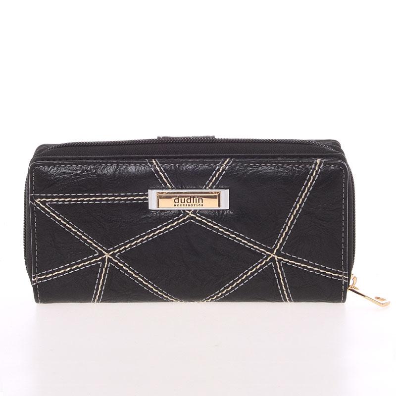 Väčšia prešívaná čierna dámska peňaženka - Dudlin M358
