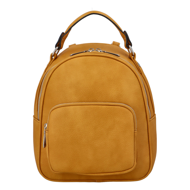 Dámsky módny batôžtek kabelka tmavožltý - FLORA&CO Jante