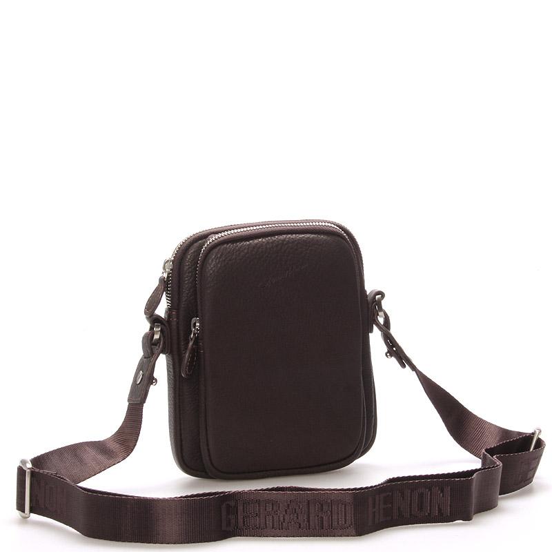 Pánska kožená taška cez rameno na doklady hnedá - Gerard HENON Tristan