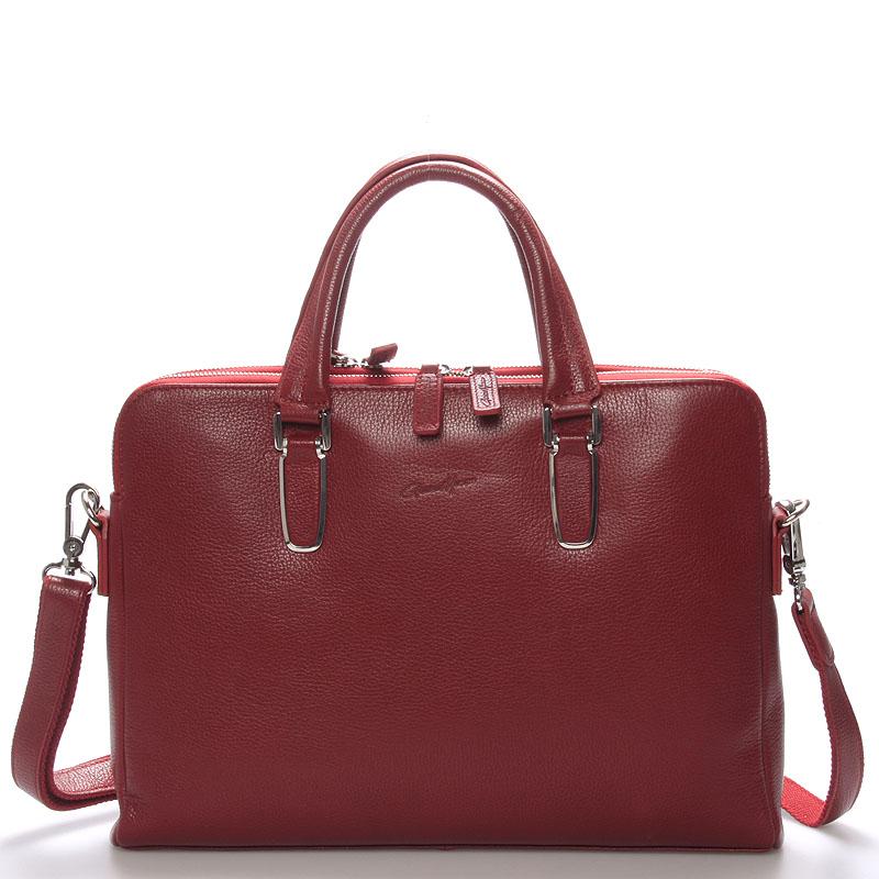 Luxusná kožená taška červená - Gerard HENON Edmond