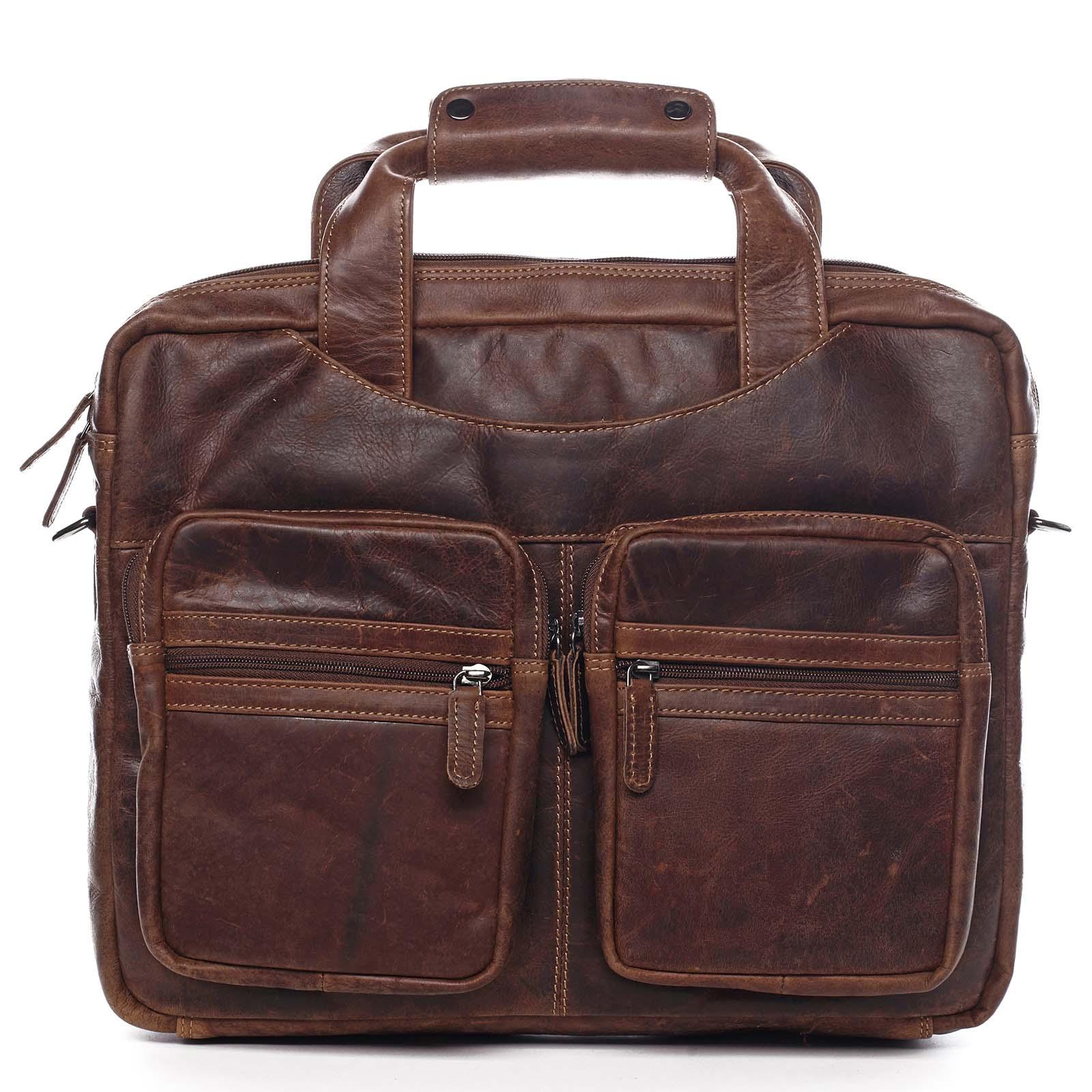 Veľká pánska kožená taška na notebook hnedá - Greenwood Experes