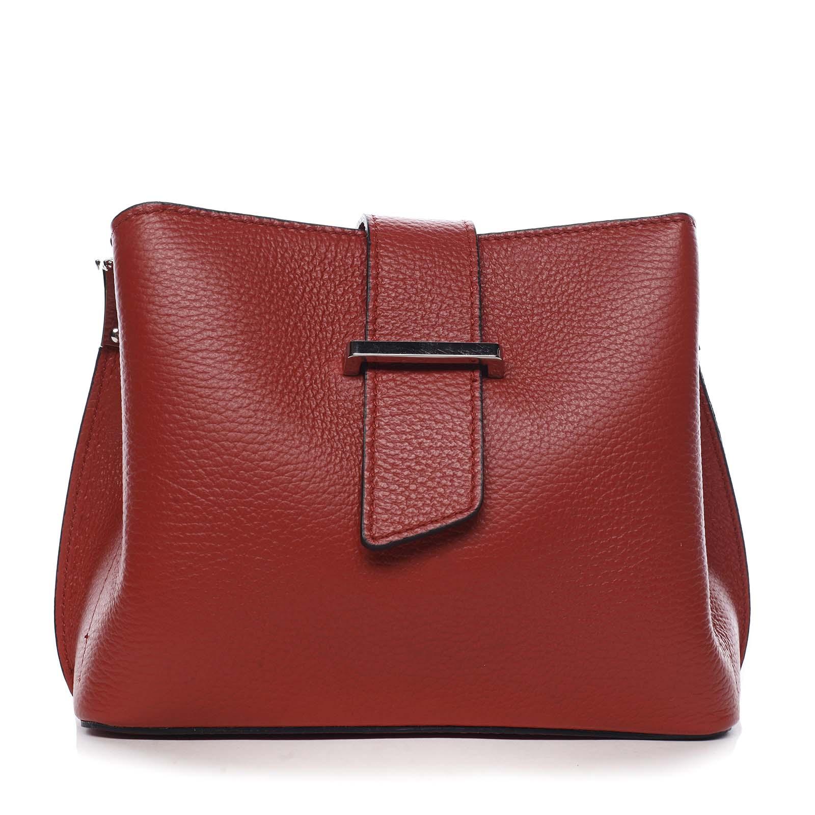 Dámska kožená crossbody kabelka červená - ItalY Euren
