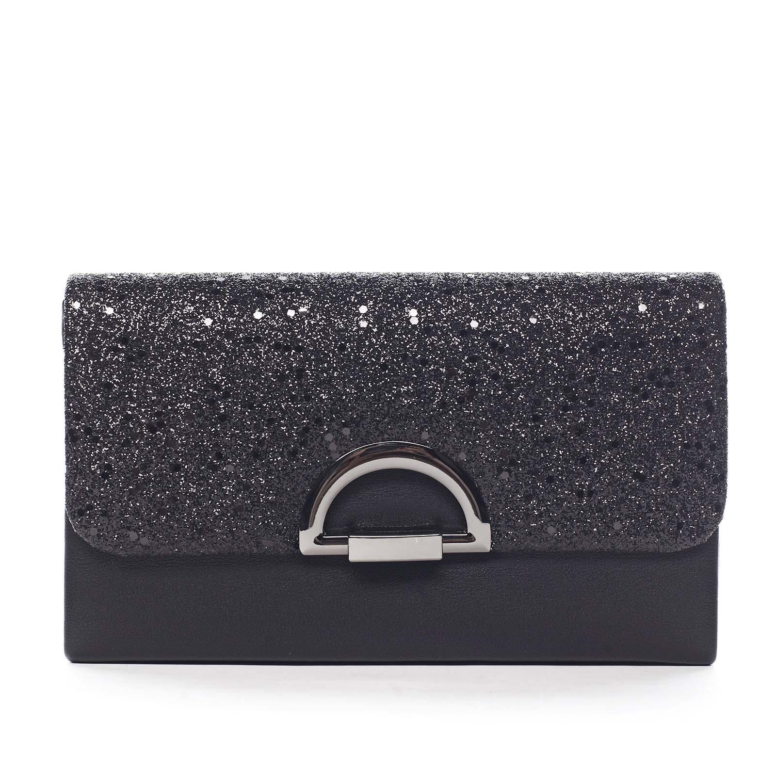 Trblietavá dámska listová kabelka čierna - Michelle Moon Hazi