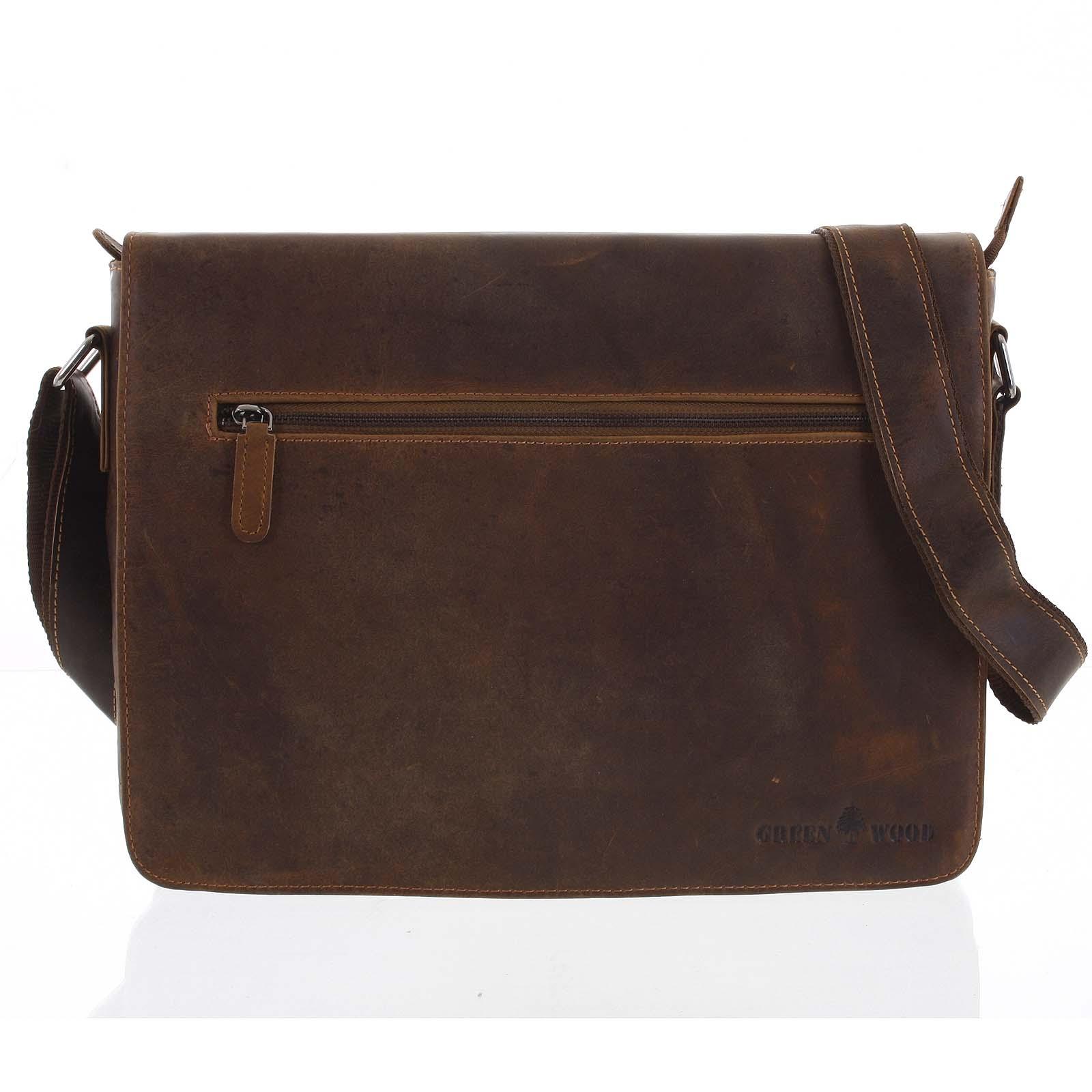 Pánska kožená taška hnedá - Greenwood Magnetto
