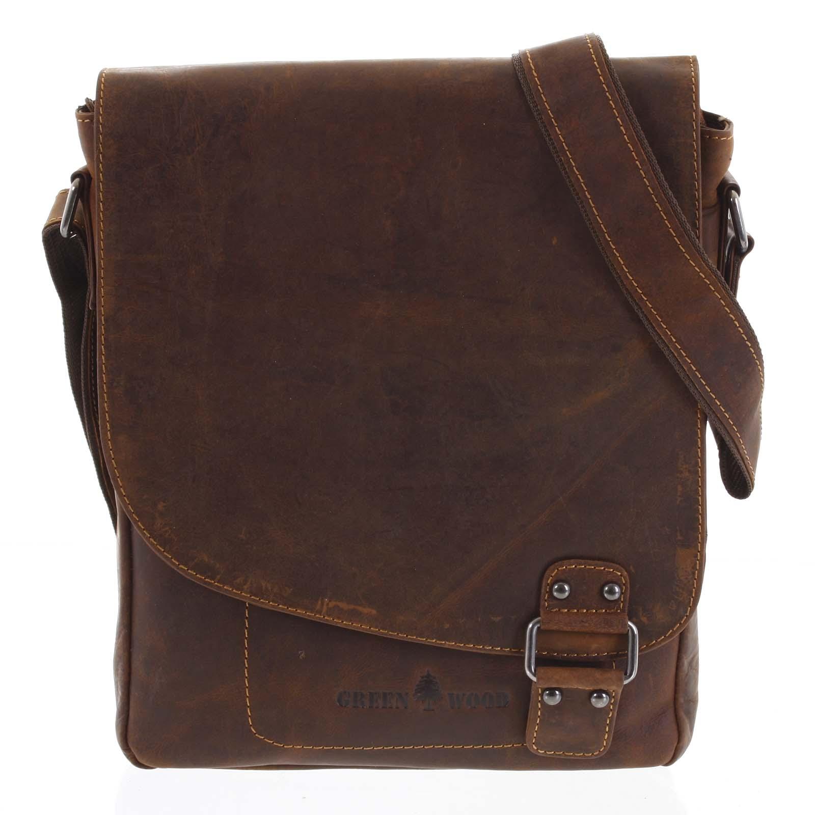 Pánska kožená taška hnedá - Greenwood Maroon