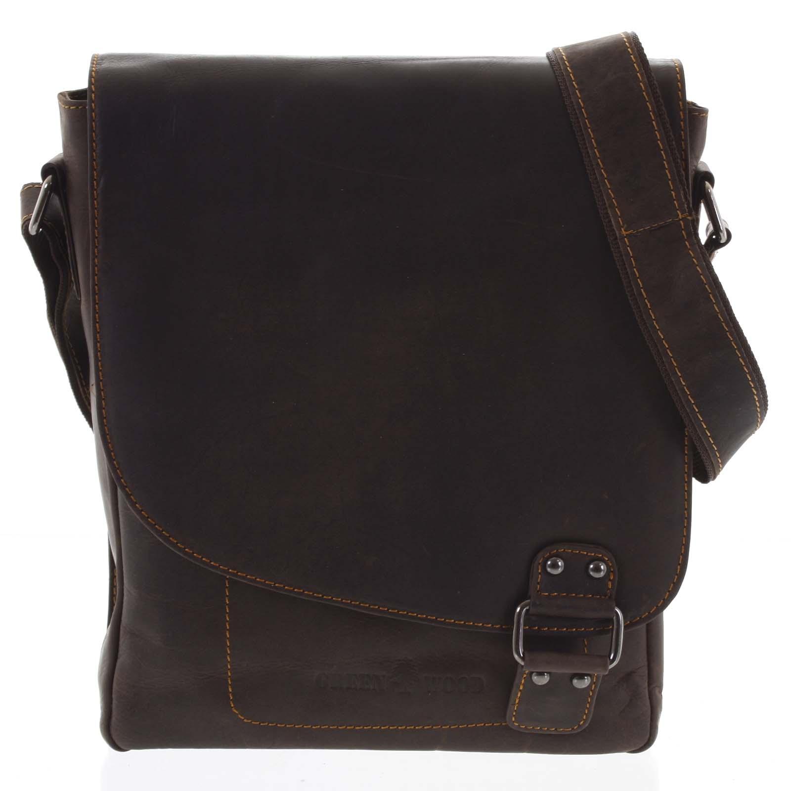 Pánska kožená taška tmavohnedá - Greenwood Maroon