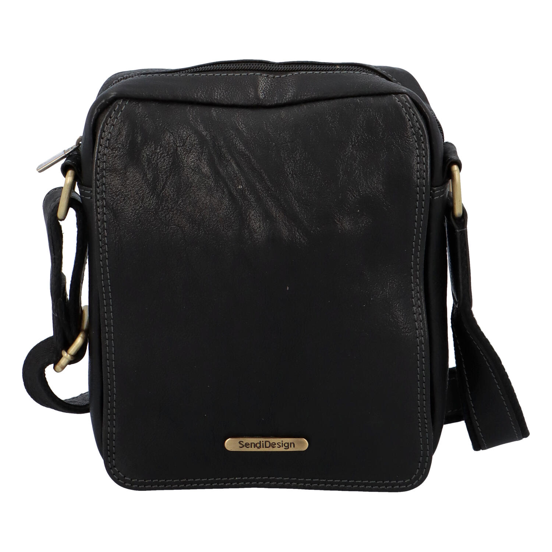 Pánska kožená taška na doklady cez rameno čierna - SendiDesign Didier SP
