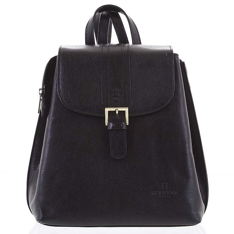 Kožený dámsky moderný batoh čierny - Hexagona Zosimos