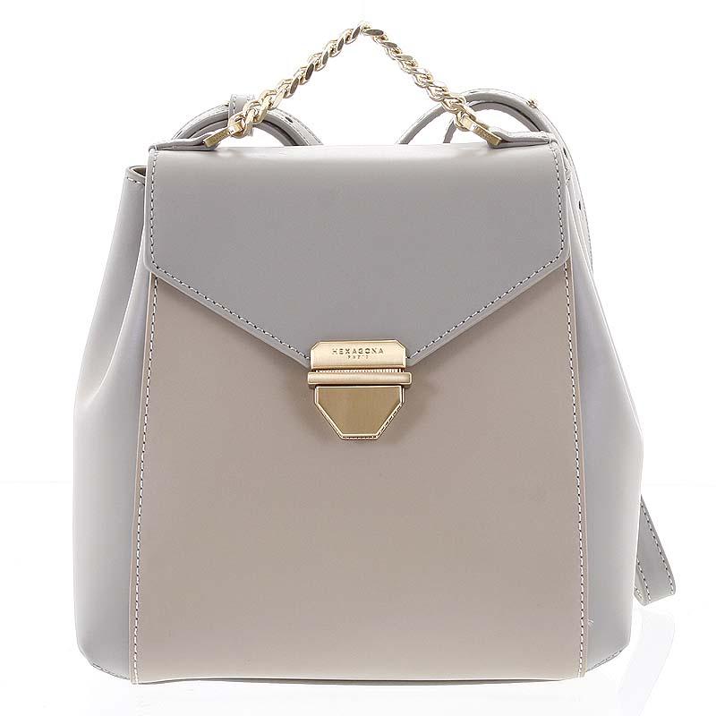 Malý luxusný kožený sivo pieskový batôžtek / kabelka - Hexagona Zondra