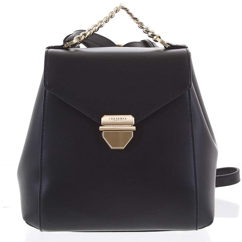 Malý luxusný kožený čierny batôžtek / kabelka - Hexagona Zondra