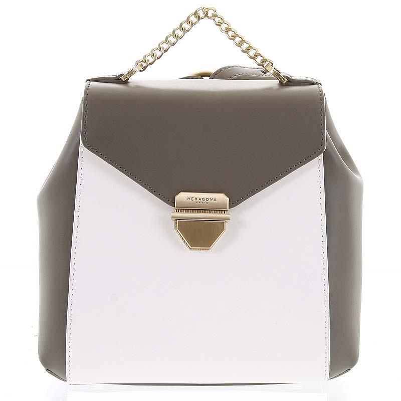 Malý luxusný kožený olivovo biely batôžtek / kabelka - Hexagona Zondra