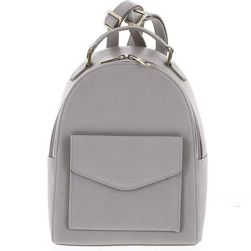 Luxusný štýlový kožený dámsky svetlosivý batoh - Hexagona Zoilo