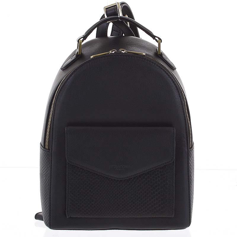 Luxusný štýlový kožený dámsky čierny batoh - Hexagona Zoilo