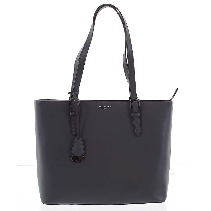 Veľká luxusná dámska kožená tmavosivá kabelka cez plece - Hexagona Zoie