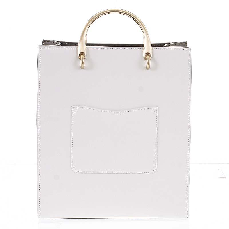 Luxusná dámska kožená bielo olivová kabelka do ruky - Hexagona Zenia