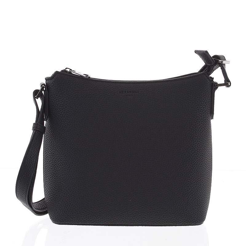 Dámska jemne štrukturovaná čierna kabelka - Hexagona Zinaida