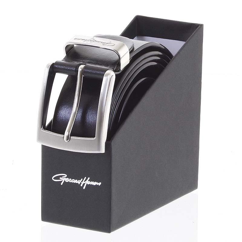Hladký elegantný pánsky kožený opasok čierny - Gerard Henon Aron