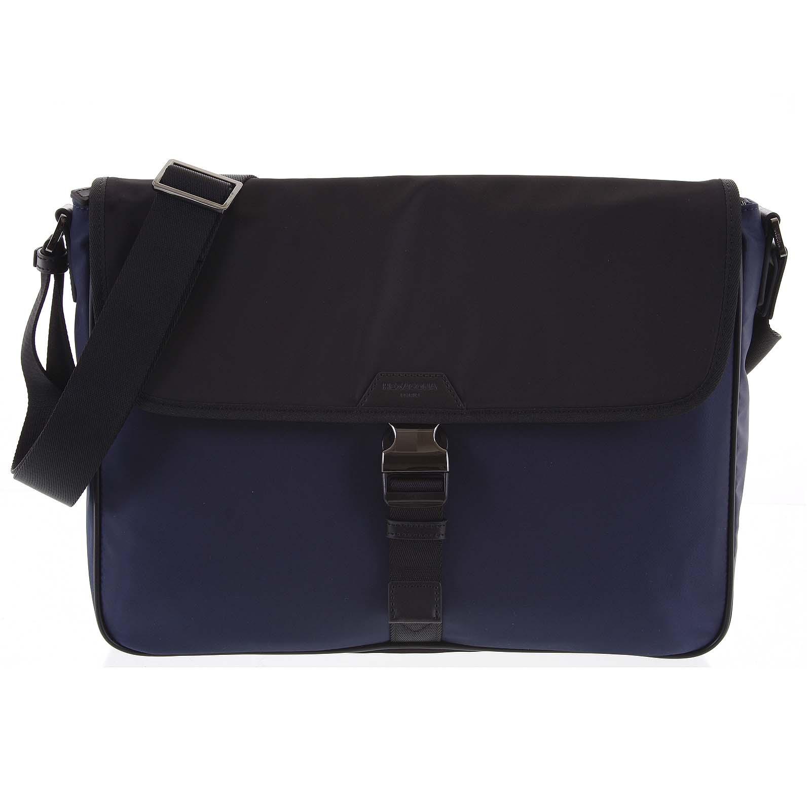 Crossbody taška na notebook modro čierna - Hexagona Baccus