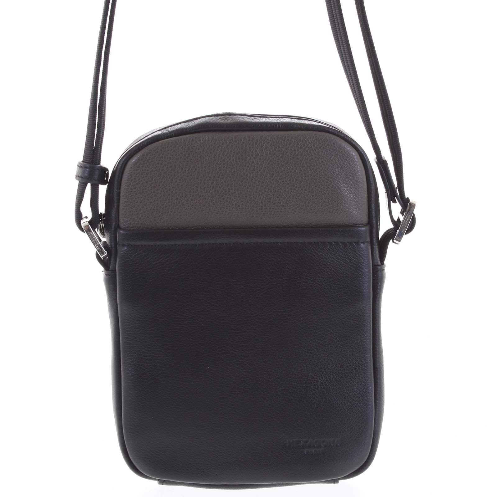 Pánska kožená taška na doklady taupe - Hexagona Yesterday