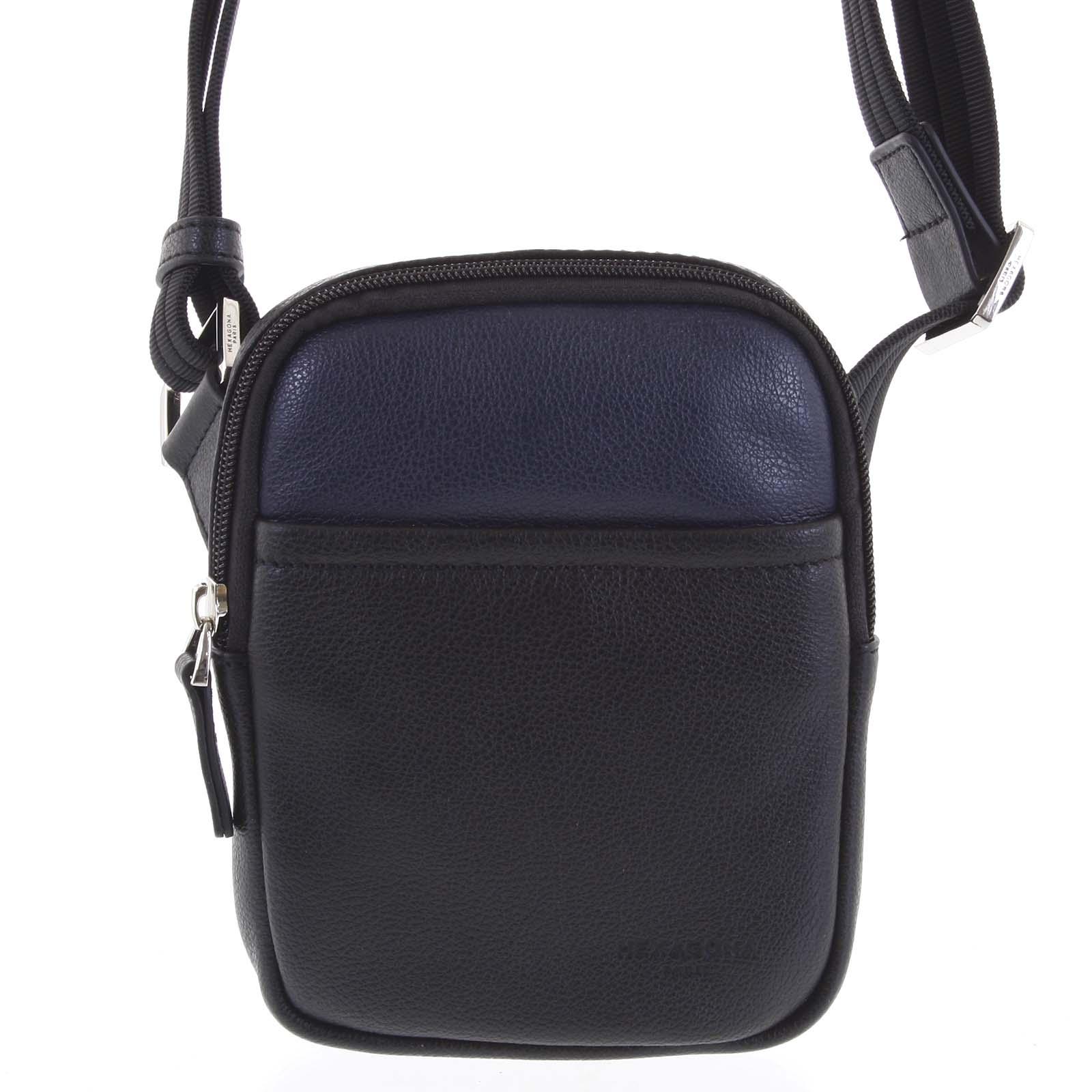 Pánska kožená taška na doklady čierno modrá - Hexagona Monday