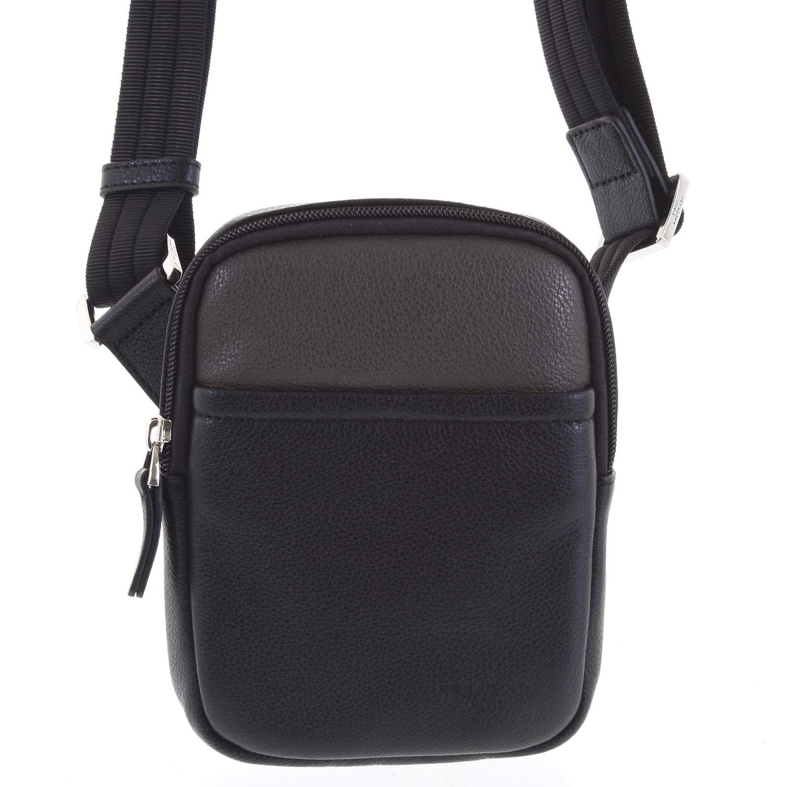 Pánska kožená taška na doklady čierna taupe - Hexagona Monday