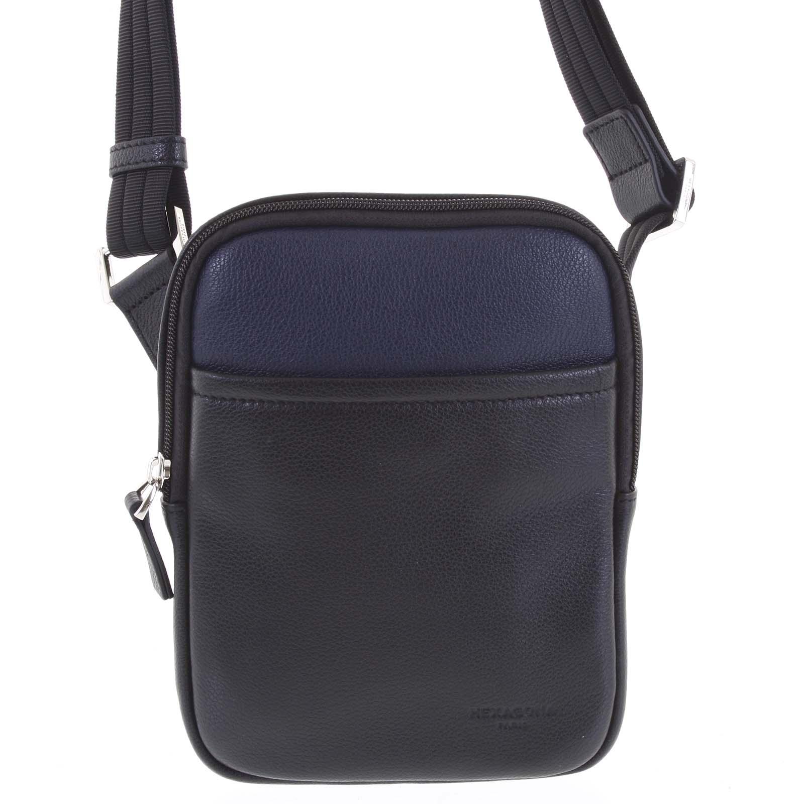 Pánska kožená taška na doklady čierno modrá - Hexagona Tuesday
