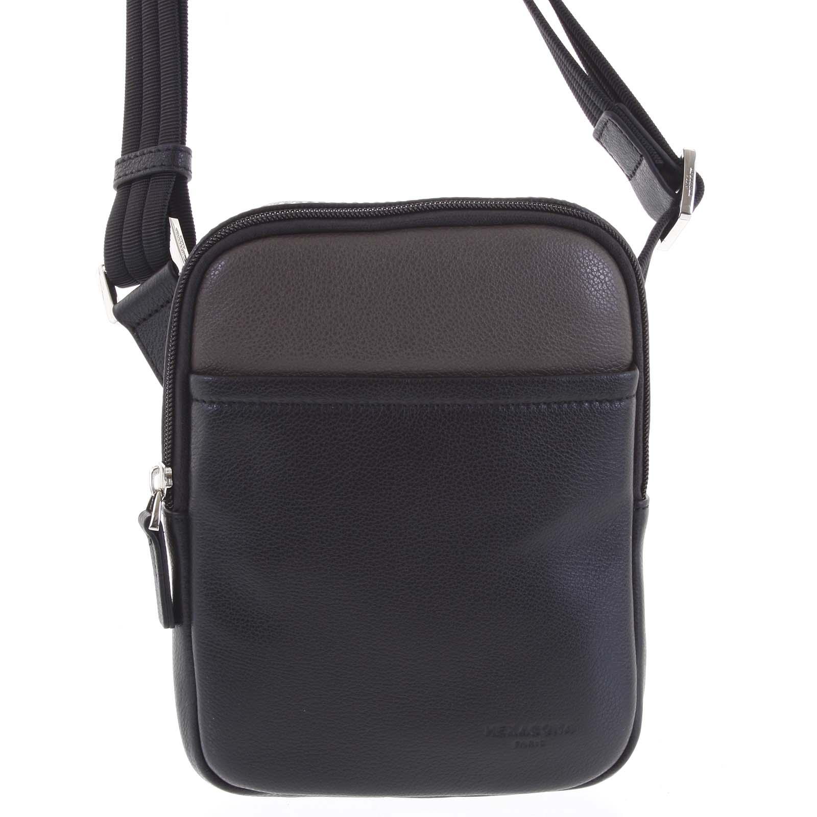 Pánska kožená taška na doklady čierna taupe - Hexagona Tuesday