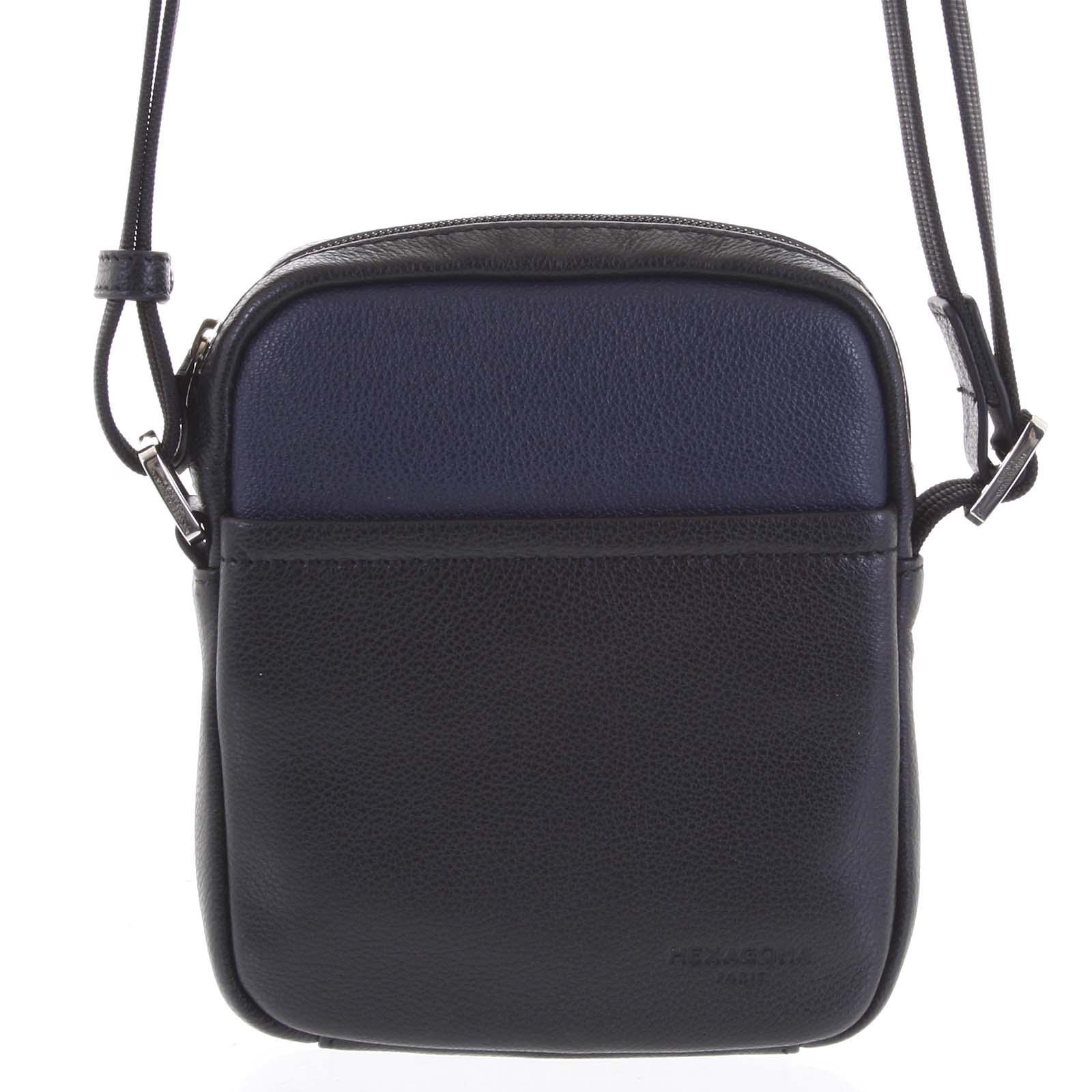 Pánska kožená taška na doklady čierno modrá - Hexagona Wednesday