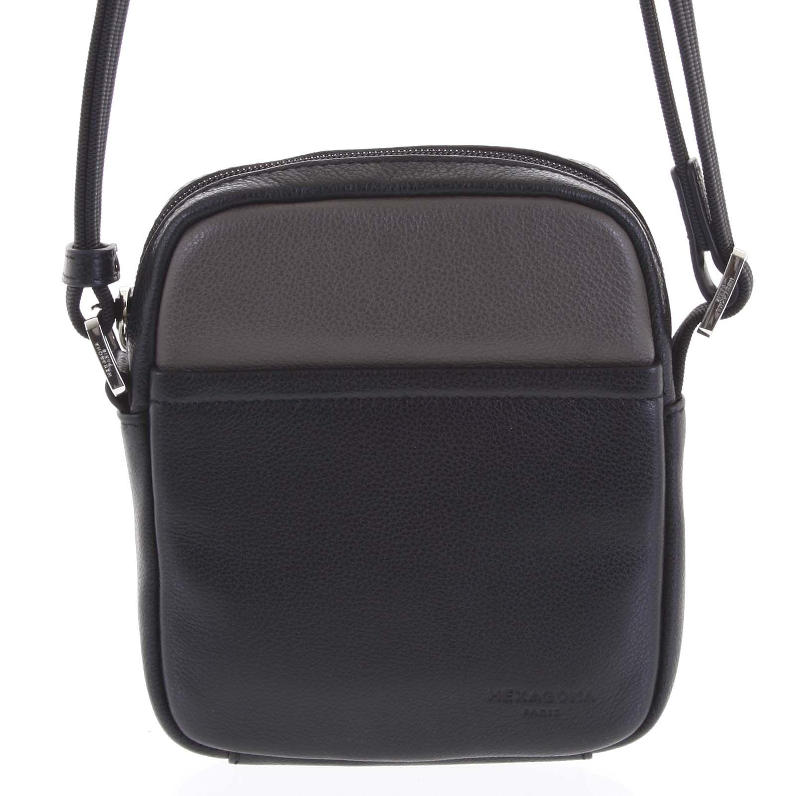 Pánska kožená taška na doklady čierna taupe - Hexagona Wednesday