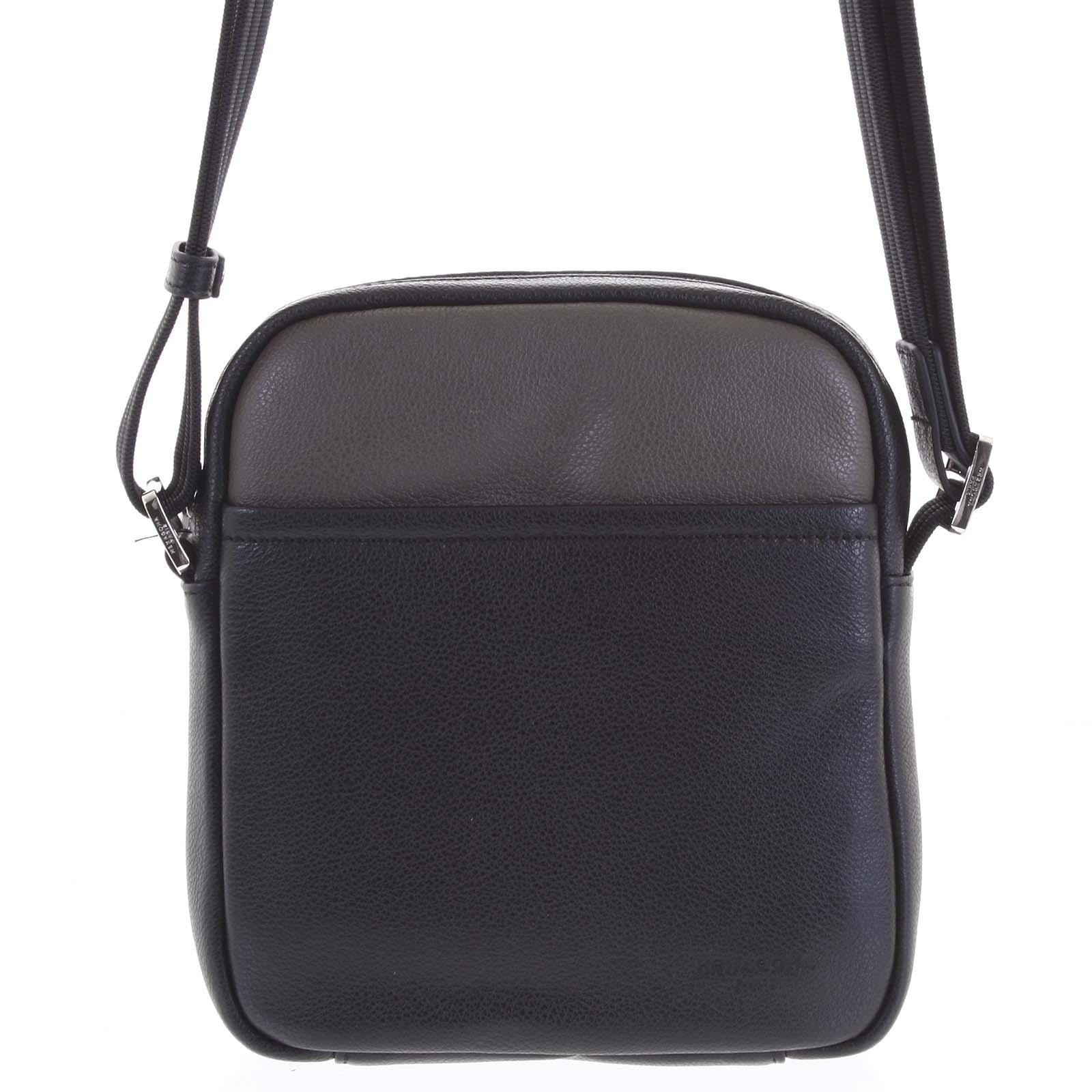 Pánska kožená taška na doklady čierna taupe - Hexagona Thursday