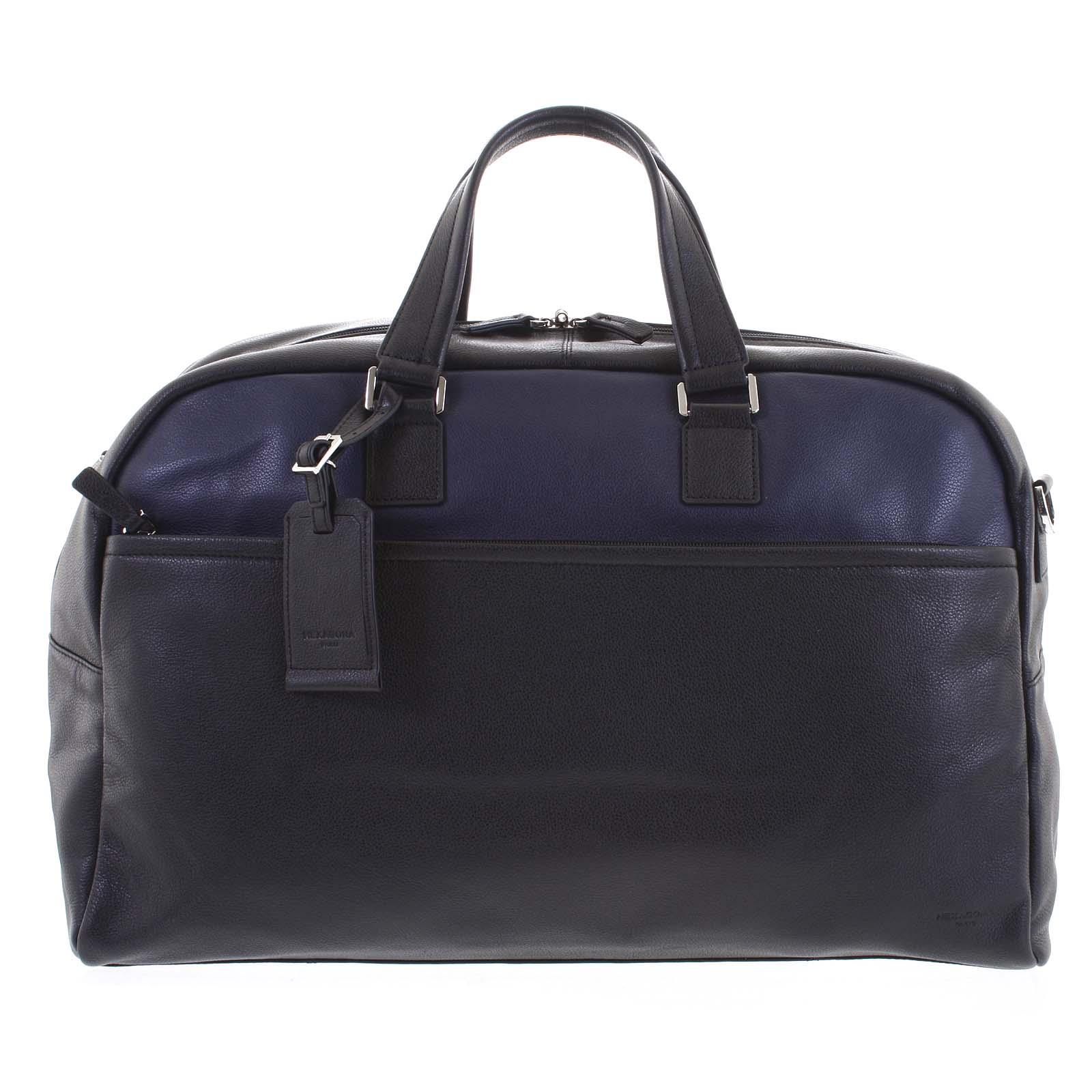 Cestovná kožená taška čierno modrá - Hexagona Everyday
