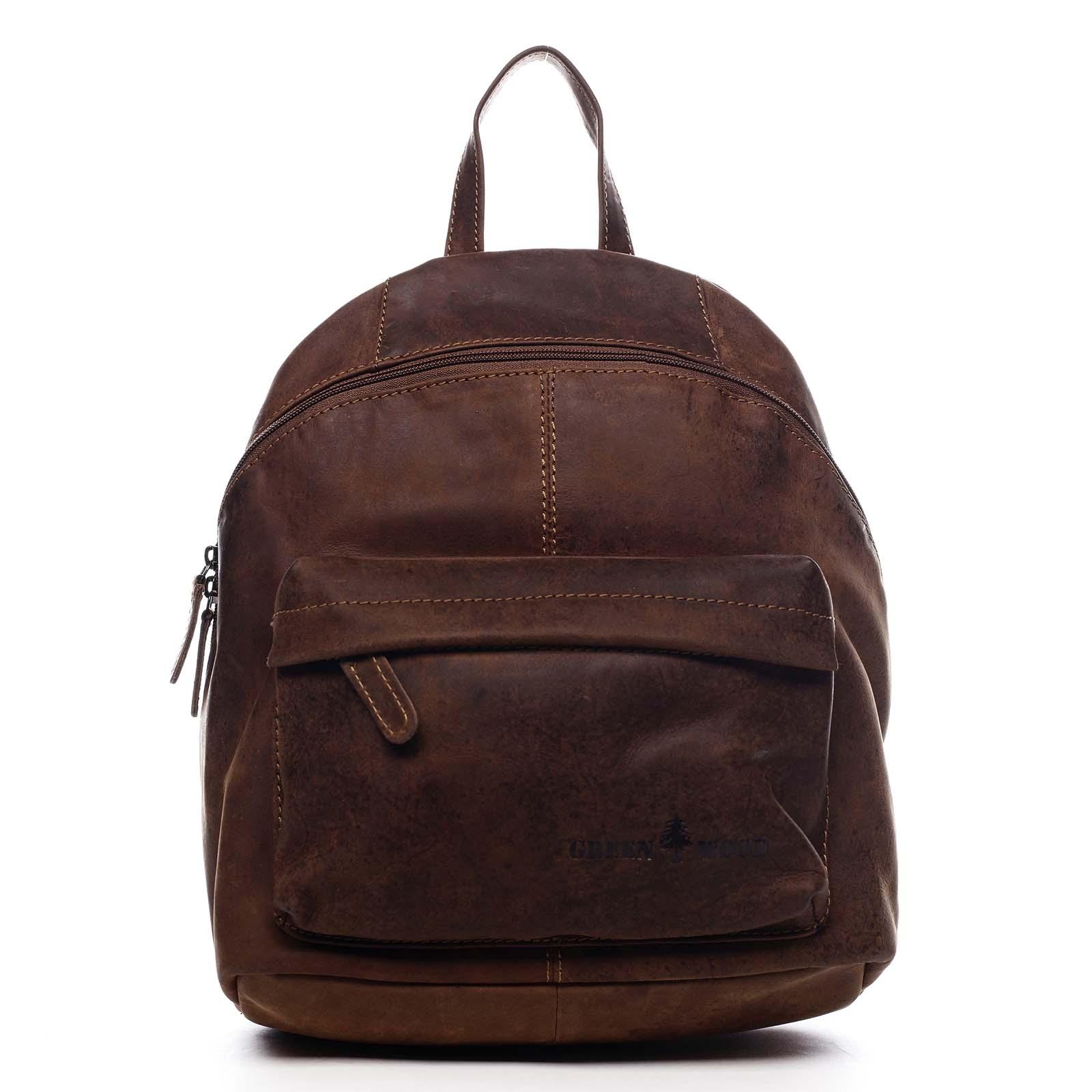 Dámsky kožený batoh hnedý - Greenwood Franz