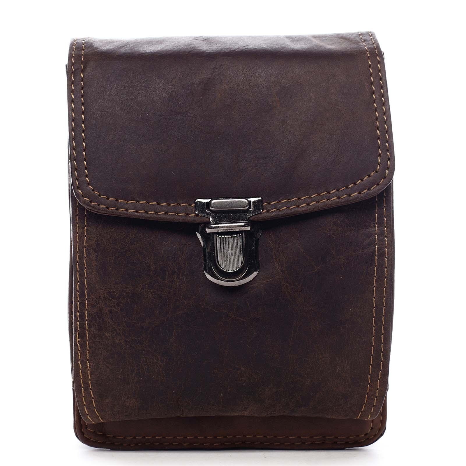 Luxusná pánska kožená vrecko na opasok hnedá - Greenwood Surprise