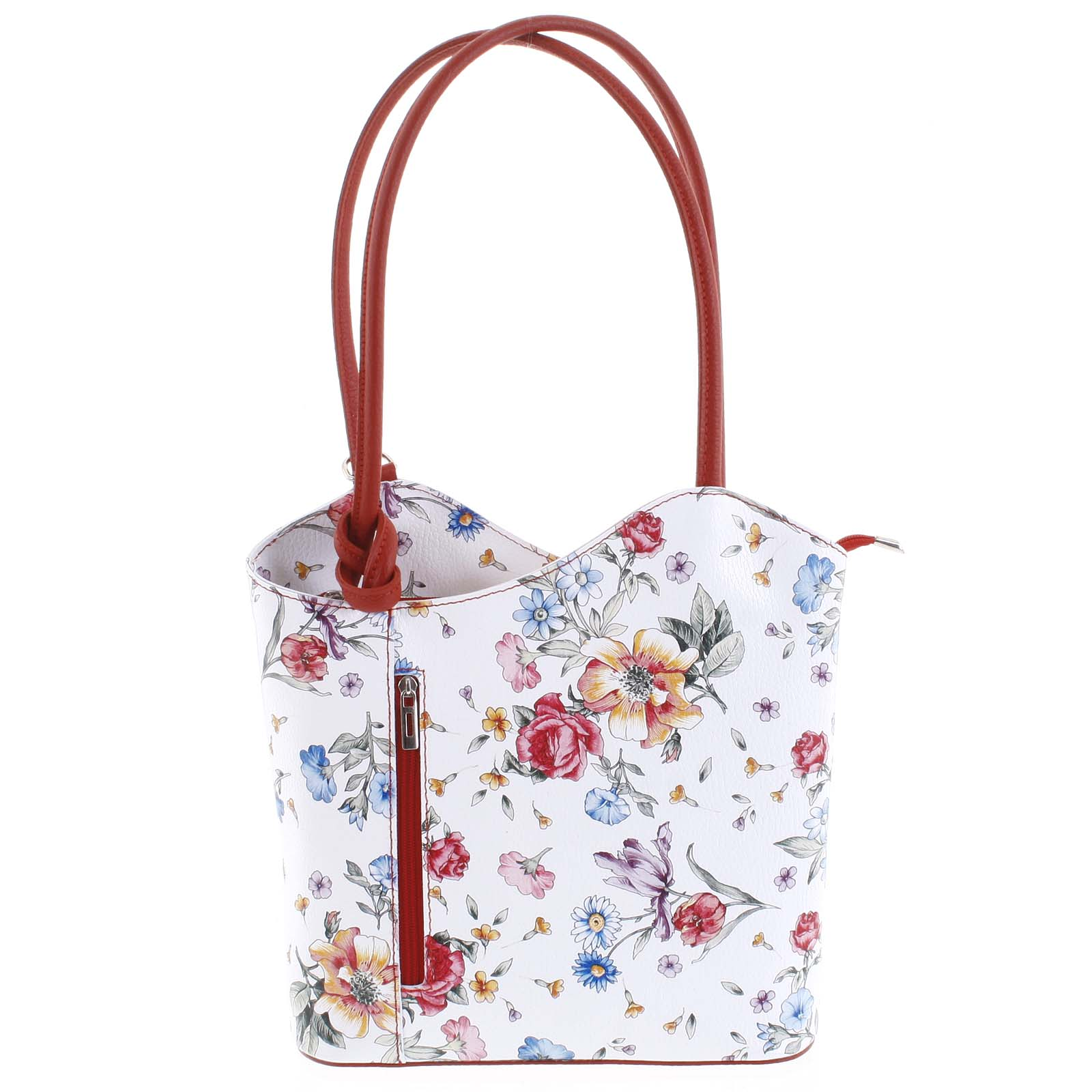 Dámska kožená kabelka-batôžtek kvetinová červená - ItalY Larry